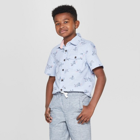 Boys' Animal Print Short Sleeve Button-Down Shirt - Cat & Jack™ Blue - image 1 of 3