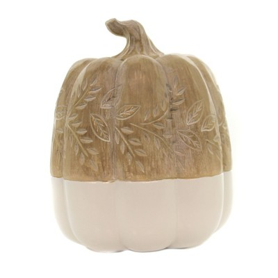 """Fall 8.5"""" Pumpkins With Carved Leaves Thanksgiving Whitewashed  -  Decorative Figurines"""