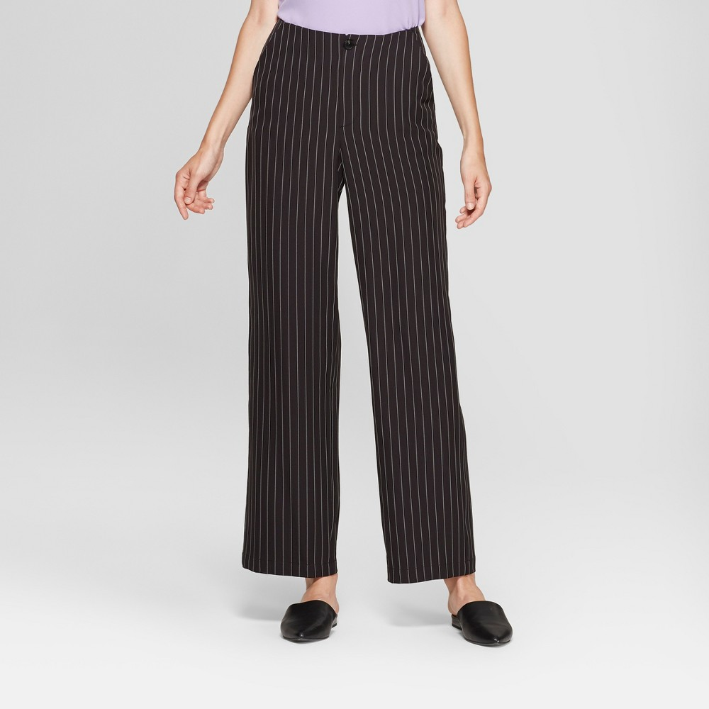 1920s Skirts, Gatsby Skirts, Vintage Pleated Skirts Womens Pinstripe Wide Leg Crepe Pants - A New Day BlackWhite 14 $18.18 AT vintagedancer.com