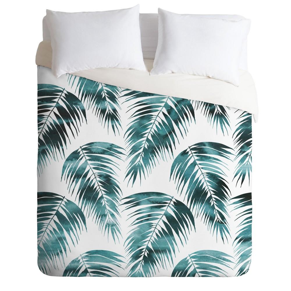 Full/Queen Schatzi Brown Maui Palm Leave Duvet Set Green - Deny Designs