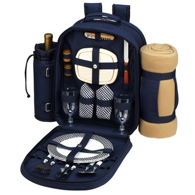 Picnic at Ascot - Deluxe Equipped 2 Person Picnic Backpack with Cooler, Insulated Wine Holder & Blanket