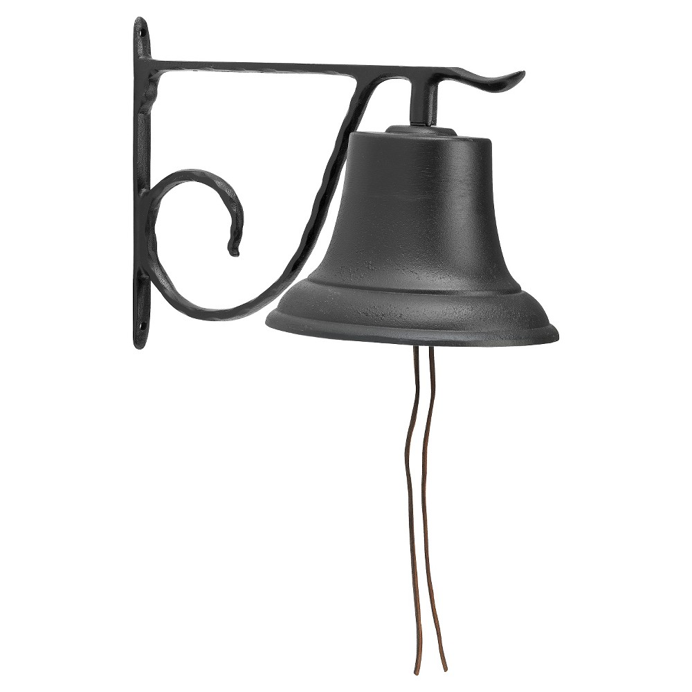 "Image of ""13"""" Large Aluminum Country Bell - Black - Whitehall Products"""