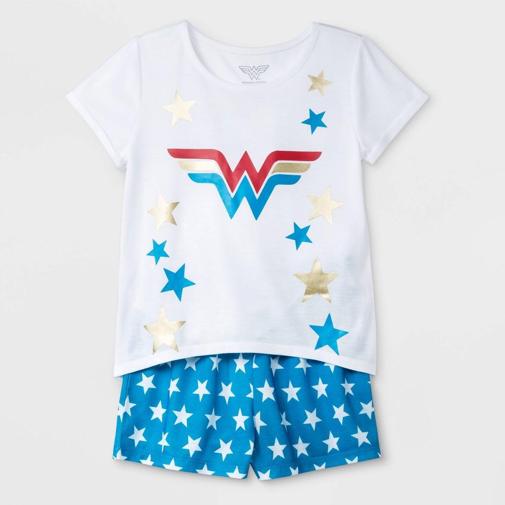 Girls' Wonder Woman 2pc Pajama Set - White/Blue S