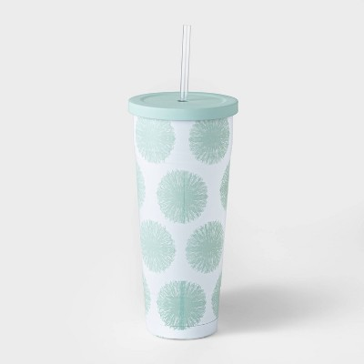 25oz Double Wall Stainless Steel Vacuum Tumbler with Straw Pom Poms Mint - Room Essentials™