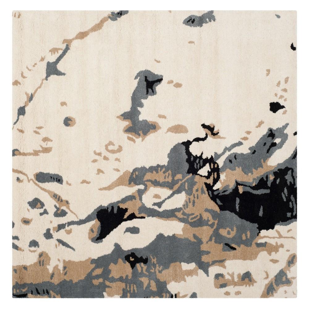 5'X5' Splatter Square Area Rug Ivory - Safavieh, White Gray