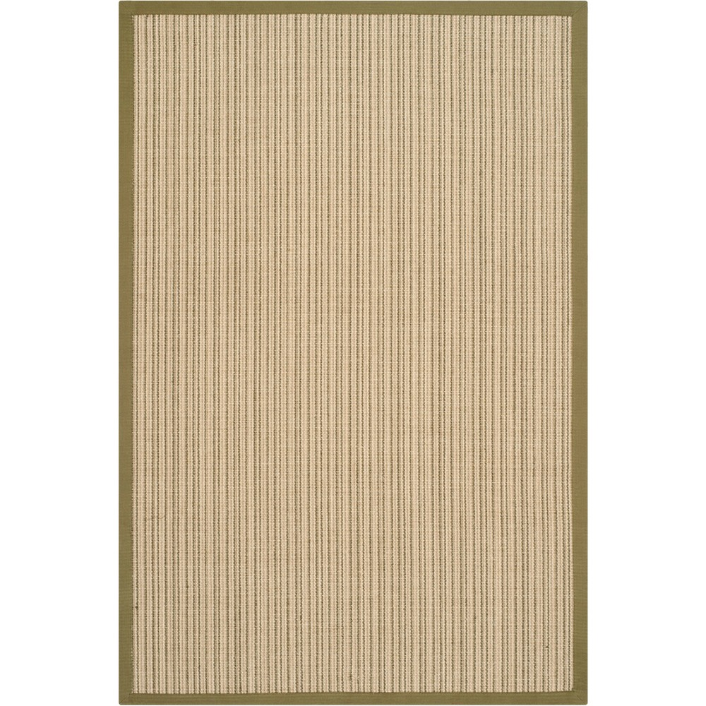 4'X6' Stripe Loomed Area Rug Green - Safavieh