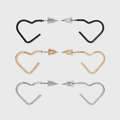 Heart Mini Hoop Stud Earring Set 3pc - Wild Fable™
