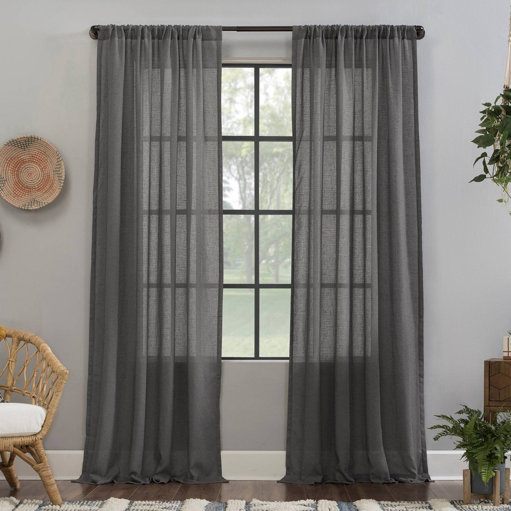 "Image of ""52""""x63"""" Crushed Texture Anti-Dust Sheer Curtain Panel Gray - Clean Window"""