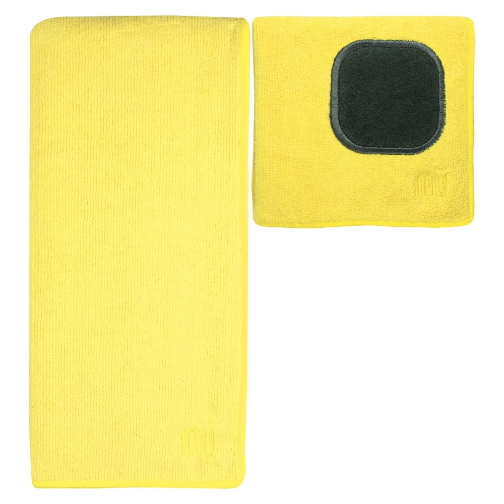 Image of 2pc Ultra Absorbent Solid Microfiber Kitchen Towel With Scrubber Cloth Yellow - Mu Kitchen