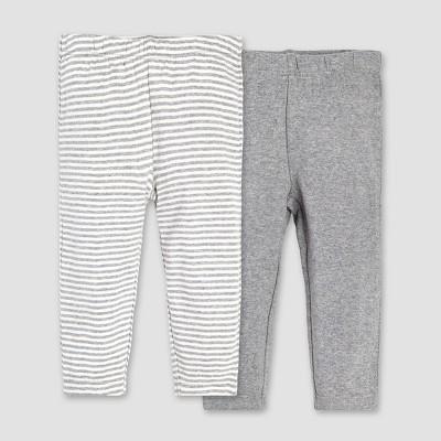 Burt's Bees Baby® Organic Cotton 2pk Pant Set - Heather Grey 0-3M