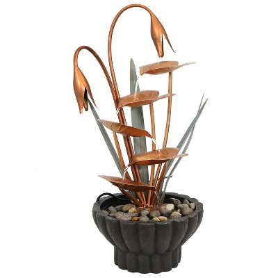 "34""H Copper Flower Petals with Five Tier Leaves Outdoor Water Fountain - Sunnydaze Decor"
