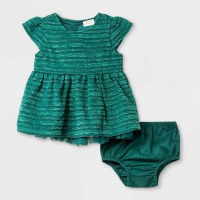 Baby Girls' Terry/Lurex Stripe Dress - Cat & Jack™ Green Newborn