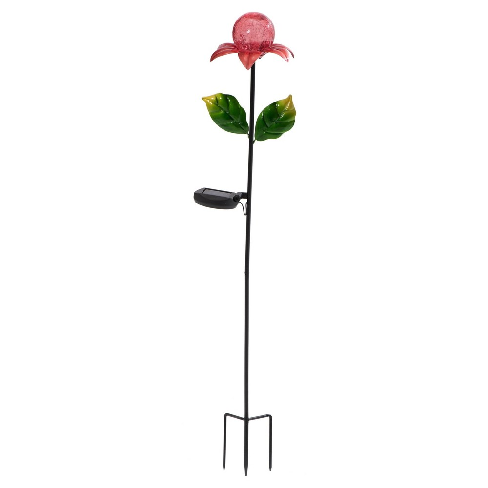 """Image of """"12 x 12"""""""" x 36"""""""" Iron Solar Led Garden Stake Set Of 2 Red/Green - Sunjoy, Multi-Colored"""""""