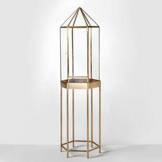 "36"" x 10"" Brass And Glass Parasol Terrarium Gold - Opalhouse™"