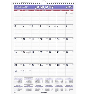 """AT-A-GLANCE 2022 17"""" x 20"""" Monthly Calendar Multicolor PM2-28-22"""