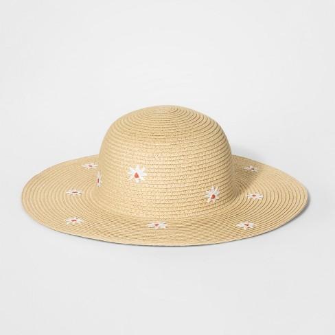 Girls  Flower Embroidered Floppy Hat - Cat   Jack™ Natural   Target 0a9ce1551fe