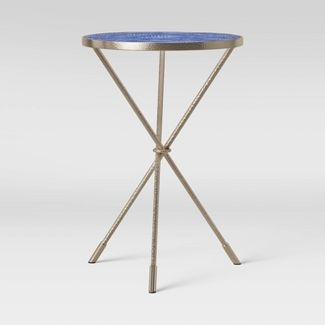 Paeonia Print Glass Top Accent Table with Pewter Finish Base Blue - Opalhouse™