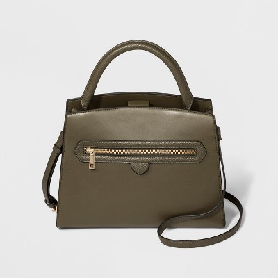 Zipper Satchel Handbag - A New Day™ Olive