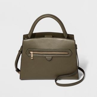 Zipper Satchel Handbag - A New Day™ Olive