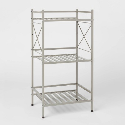 3 -Tier Square Tube Decorative Storage Cabinets Brushed Nickel - Threshold™