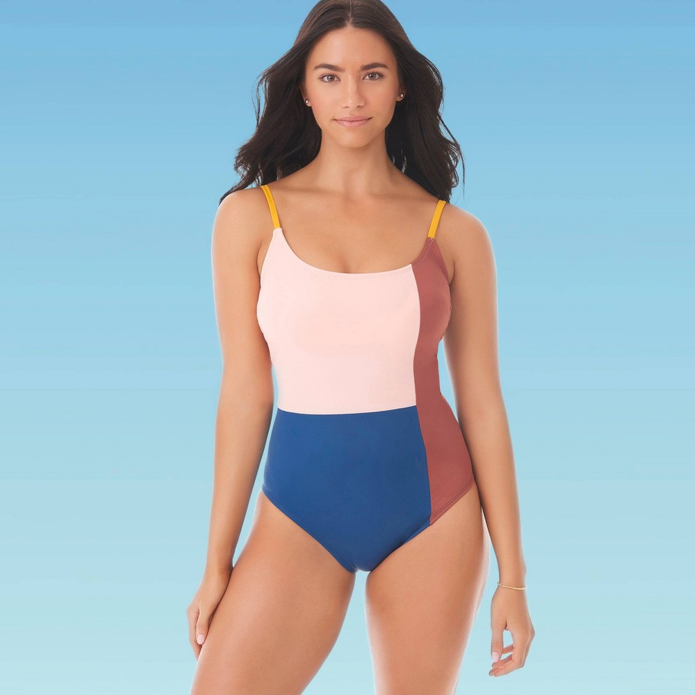 Image of Women's Slimming Control Colorblock One Piece Swimsuit - Beach Betty By Miracle Brands L, Women's, Size: Large, MultiColored