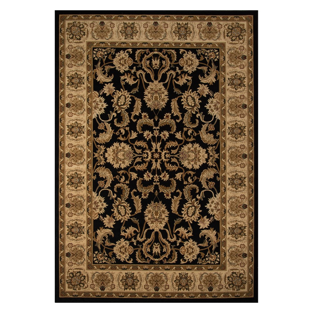 2'X3'3 Floral Loomed Accent Rug Black - Momeni
