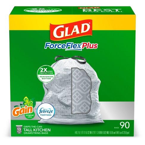 Glad ForceFlexPlus + Tall Kitchen Drawstring Gray Trash Bags - Gain Original with Febreze Freshness - 13 Gallon - 90ct - image 1 of 4