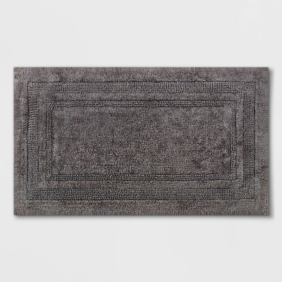 "20""x34"" Performance Cotton Bath Rug Dark Gray - Threshold™"