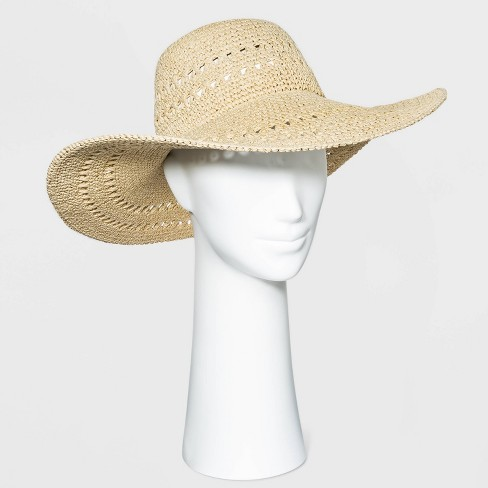 Women's Open Weave Straw Floppy Hat - A New Day™ - image 1 of 1