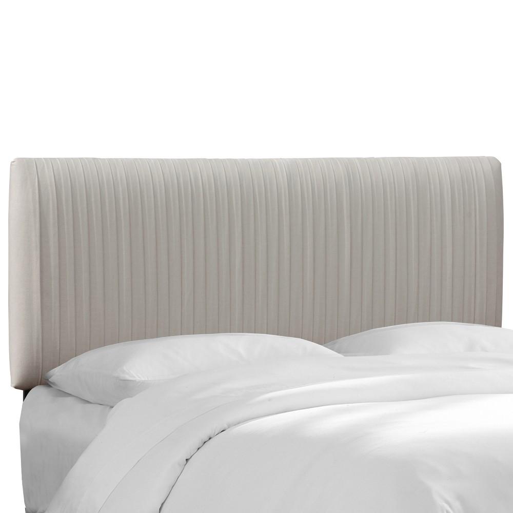Twin Skylar Upholstered Pleated Headboard Light Gray Velvet - Cloth & Co.