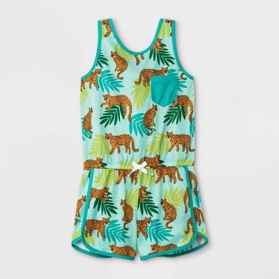Girls' Tiger Print Pajama Romper - Cat & Jack™ Green