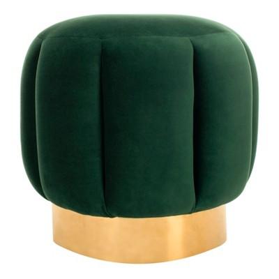 Maxine Channel Tufted Ottoman Emerald - Safavieh