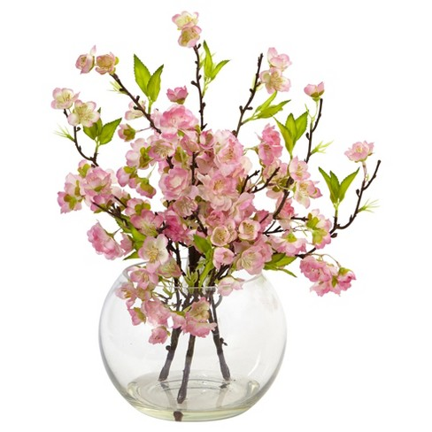 Cherry Blossom In Large Vase Pink Nearly Natural Target