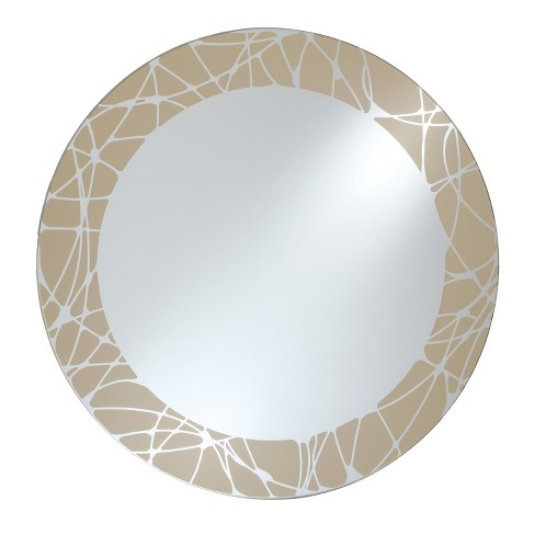 "Circular Beveled Frameless Wall Mirror with Silk Screened Pattern Embedded Border Champagne 24"" - Breeze Point - image 1 of 3"