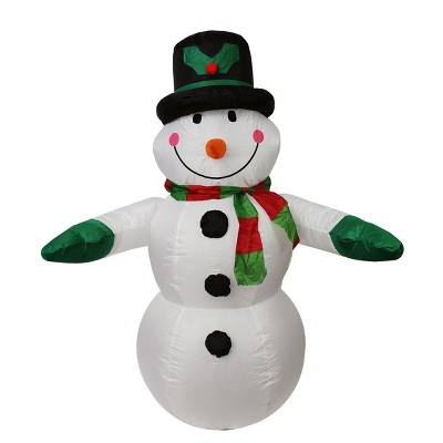 LB International 4' Black and White Inflatable Snowman Christmas Outdoor Decor