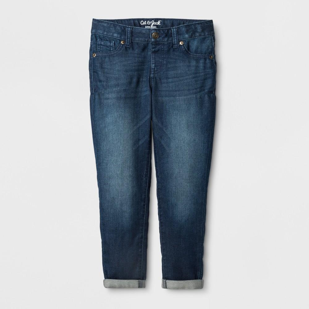 Girls' Super Skinny Crop Jeans - Cat & Jack Dark Wash 6X Slim