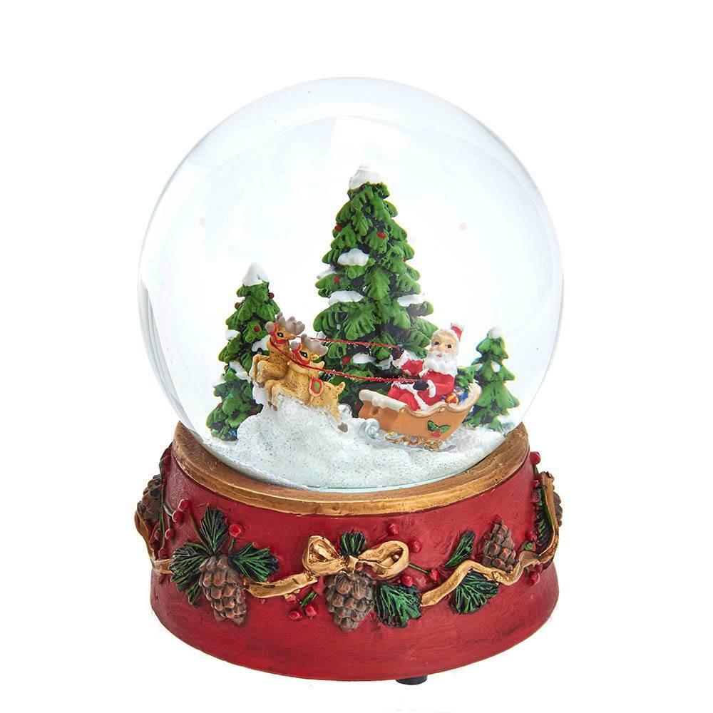 Image of 100mm Kurt Adler on Sleigh Musical Snowglobe Decorative Sculpture