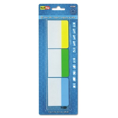 Redi-Tag Write-On Self-Stick Index Tabs 1 1/2 x 2 Blue Green Yellow 30/Pack 31080