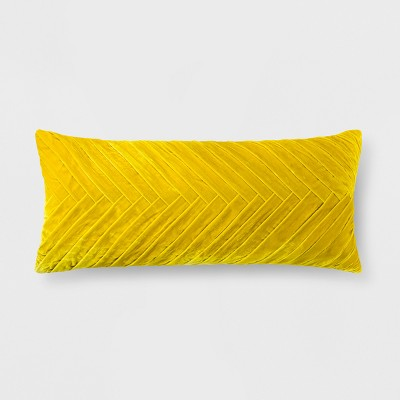 Citron Pleated Velvet Lumbar Pillow - Opalhouse™