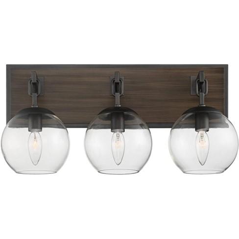 Possini Euro Design Modern Industrial Wall Light Gunmetal Wood Hardwired 20 Wide 3 Light Fixture Glass Globe For Bathroom Vanity Target