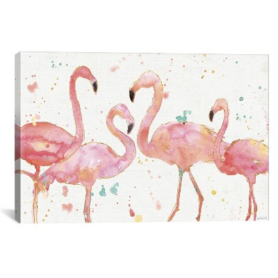 12 x18  Flamingo Fever by Anne Tavoletti Unframed Wall Canvas Print Ivory/Pink - iCanvas