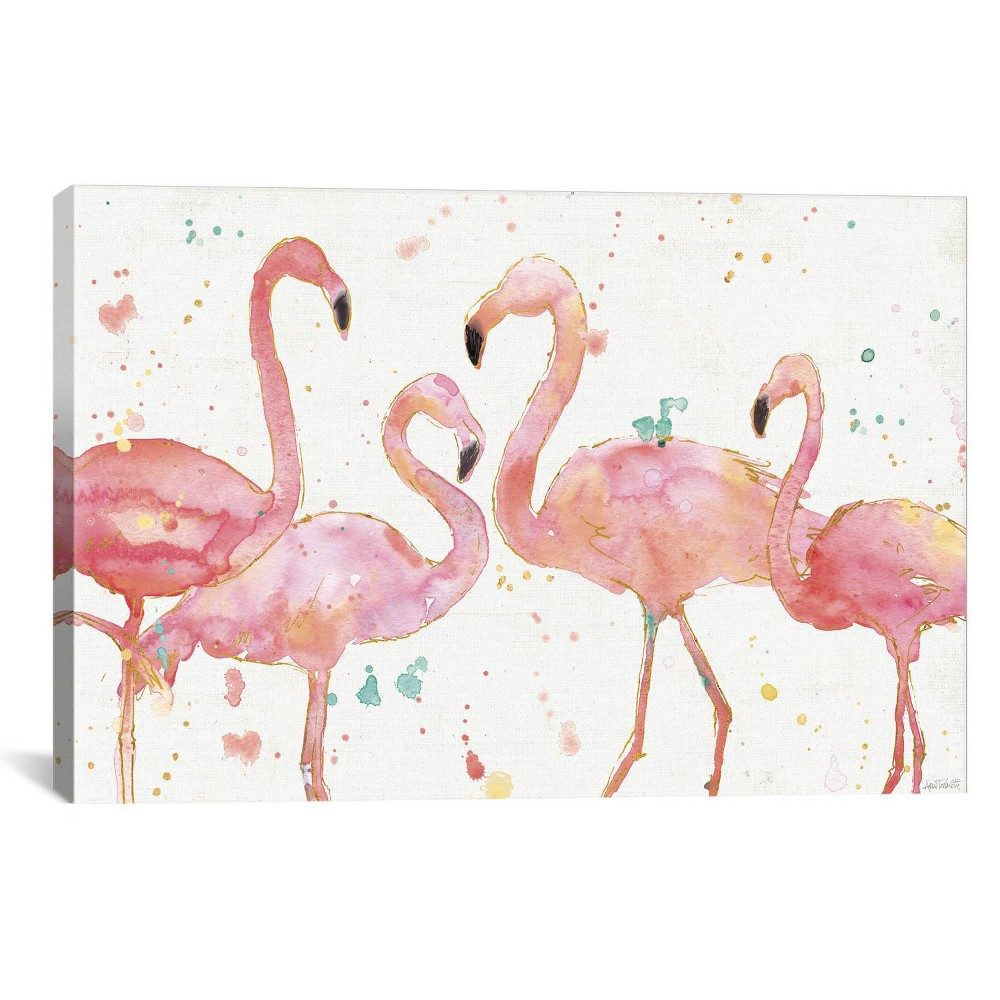 "Image of ""12"""" x 18"""" Flamingo Fever by Anne Tavoletti Unframed Wall Canvas Print Pink/White - iCanvas, Size: 12"""" x 18"""""""