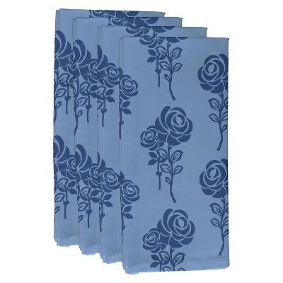 Blue Carmen Floral Print Napkin Set (19 X19 )- E By Design