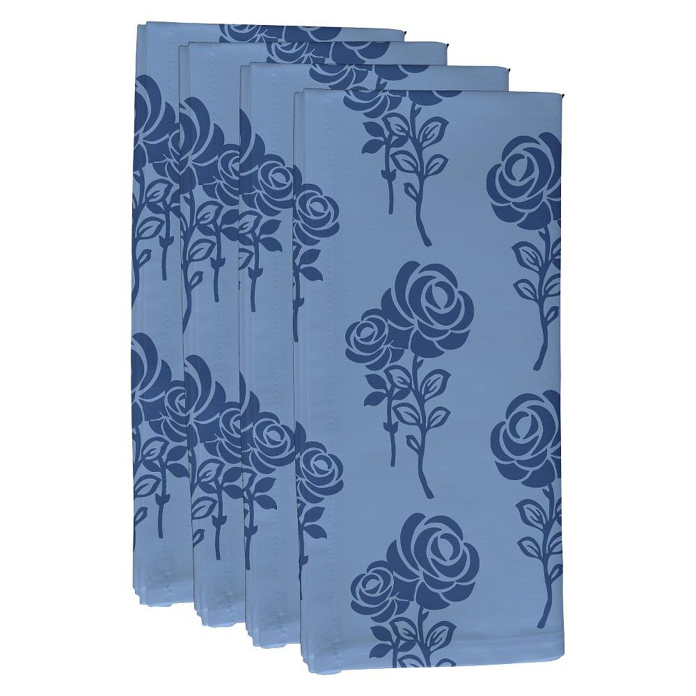 "Image of ""Blue Carmen Floral Print Napkin Set (19""""X19"""") - E By Design"""