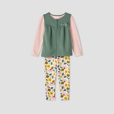 Toddler Girls' 3pc Quilted Vest Floral Top and Leggings Set - Just One You® made by carter's Green 4T