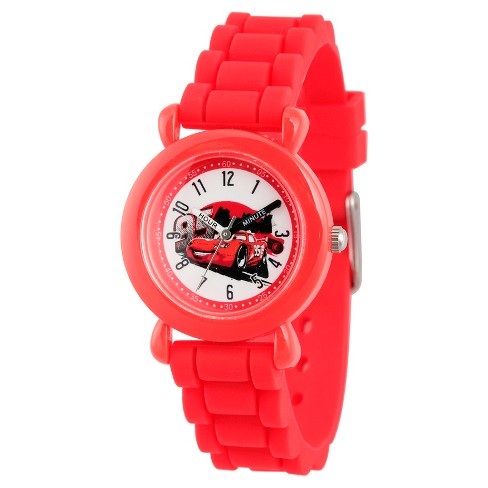 Disney Cars Lightning McQueen Boys' Red Plastic Time Teacher Watch, Red Silicone Strap, WDS000151 - image 1 of 2