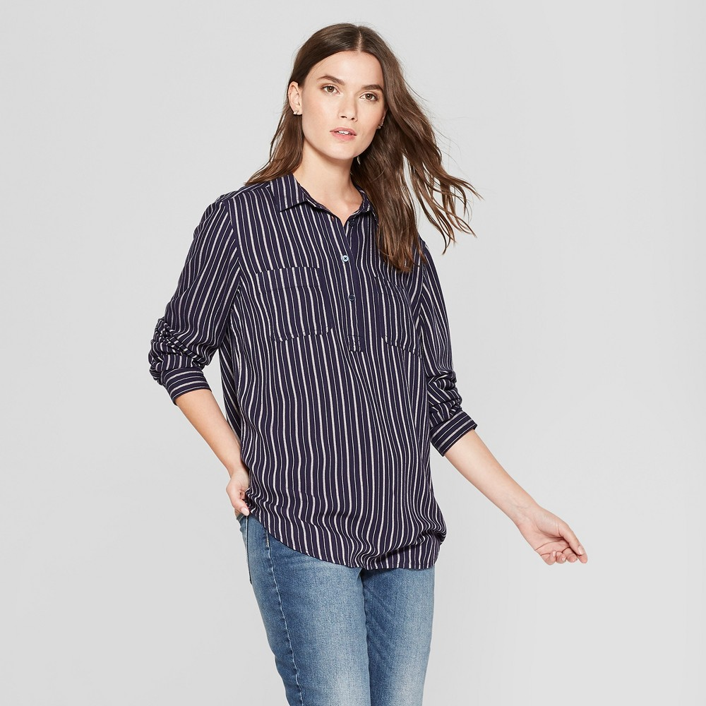 Women's Striped Long Sleeve Tunic - Universal Thread Blue S