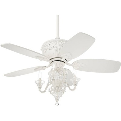 "44"" Casa Vieja Vintage Chic Ceiling Fan with Light LED Dimmable Crystal Chandelier Rubbed White Living Room Kitchen Bedroom"