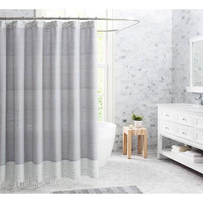 Fringe Cotton Shower Curtain Gray - VCNY