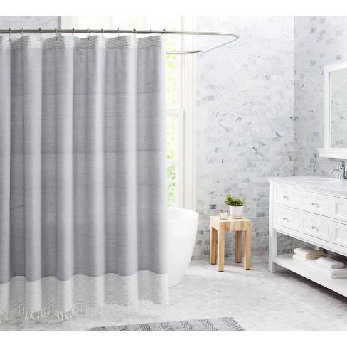 Fringe Cotton Shower Curtain Gray - VCNY - image 1 of 2